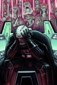 A helmetless Darth Vader is tormented by visions of his slain Jedi brethren.