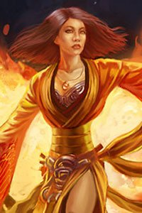 A thin-waisted woman wearing orange robes is bathed in fire.
