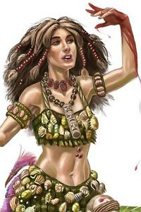 A woman adorned in jewelry dances.