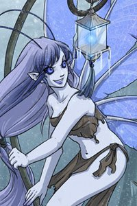 A small winged fairy with a small blue lantern on a pole.