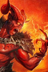 A demonic figure with large horns and bulky armor conjures fire.