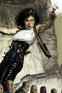 A woman in leather leaps and shoots.