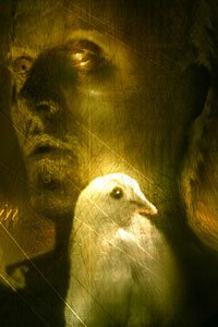 Roy Batty (Rutger Hauer) with gold eyes and a white dove.