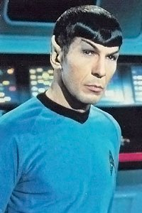 Leonard Nimoy as the Enterprise's Vulcan first officer Spock.