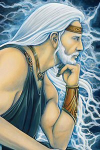 A white haired and bearded man in a blue toga, surrounded by lightning.