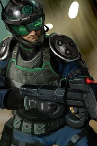 A man in full balistic armor wields a large rifle.