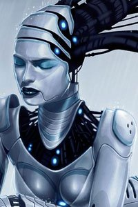 An sexy yet industrial robot woman closes her eyes.