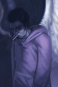 A dour looking man with large white wings in a hoodie smokes a cigarette.