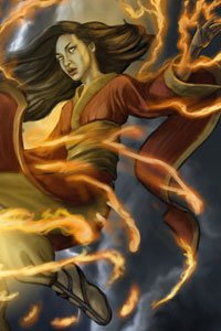 A woman in red robes is enveloped in streams of fire.