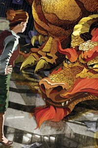 A businesswoman confers with a large red dragon.