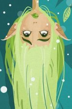 A playful elf with green hair hangs upside down and sticks out her tongue.