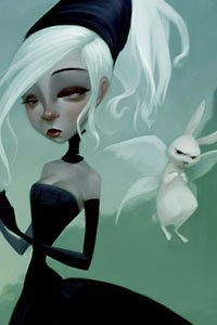 A white-haired girl in a black dress and gloves is accompanied by a surly winged rabbit.