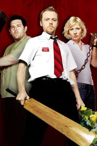 Simon Pegg as Shaun, Nick Frost as Ed and Kate Ashfield as Liz wielding improvised weapons.