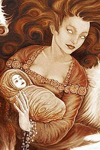 An angelic woman cradles a small infant in her arms.