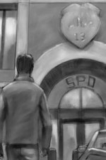 A man walks towards a police station.