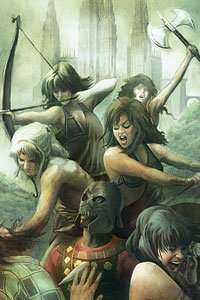 A group of angry warrior women overrun armored men.