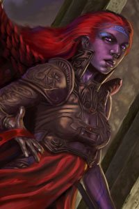 An angel with long red hair in full armor.