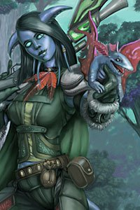 A Draenei woman holding a small creature.