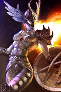 An armored female figure with long flaming hair glowers menacingly.