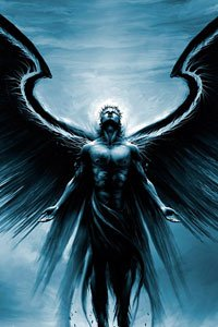 A dark angel with wings outstretched gazes upward.