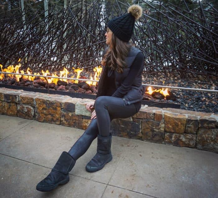 ski trip all black look - Uggs, Spanx Leather Leggings, Black Vest and Beanie