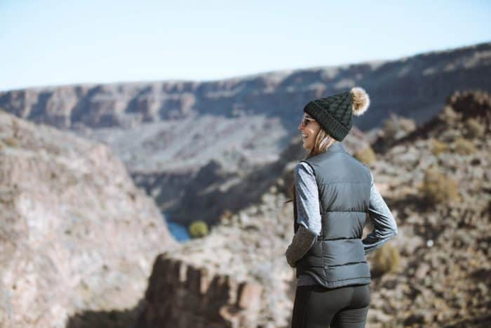 activewear for winter - hiking in taos new mexico
