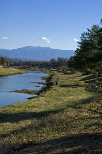 View of the Little Pigeon River in Sevierville with mountains in the background