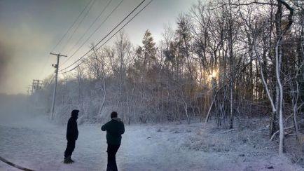 Sunrise snowmen.