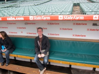 In the dugout at Wrigley