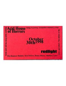 Acid House of Horrors Red Business Card Flyer by Redlight Productions