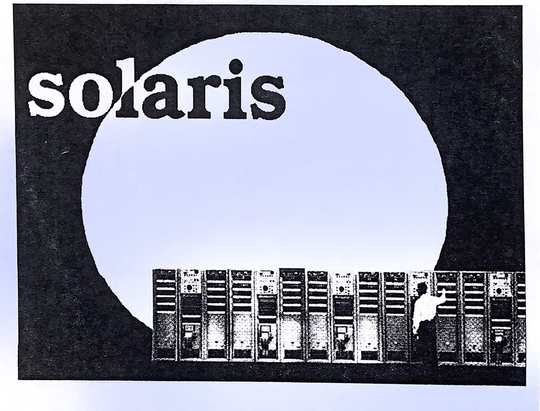 Solaris: black flyer with light blue full moon in background and cityscape in foreground at bottom right corner