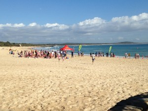 Noosa Nippers in action sign on day in full swing.