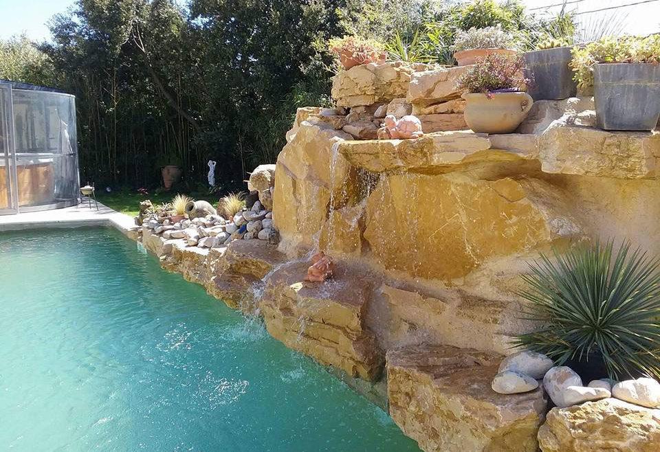 piscine en forme libre avec cascade en