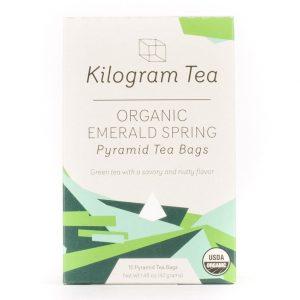 Organic Emerald Spring Green Tea Pyramid Tea Bags form Kilogram Tea.