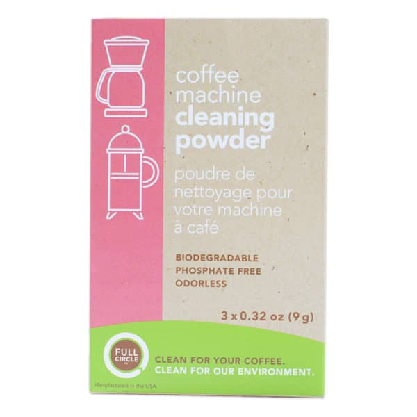 A box of Full Circle Brand coffee cleaner, which removes coffee residue from coffee equipment and holding vessels.