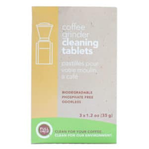 Full Circle brand grinder cleaning tablets, which can be used to remove coffee oils and residue from coffee grinders.