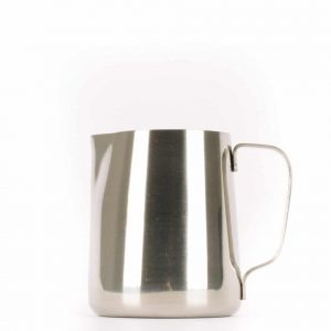 A 12-ounce stainless steel milk steaming pitcher.