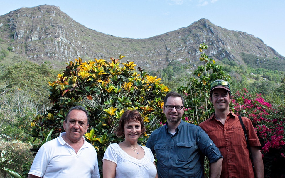 Our partners at La Fragua in Colombia, one of our first coffee origin partnerships – Miguel (farm manager), Lina Sinisterra (farm owner), myself, and Chris Davidson (Atlas Coffee Importers)