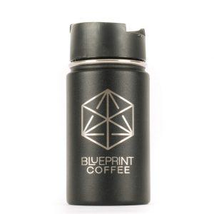The Blueprint custom 12-ounce hydro flask coffee tumbler in black.