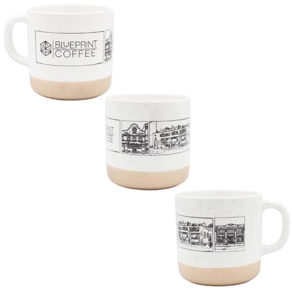 The Blueprint Cafés Mug is wrapped with original illustrations of our three locations.