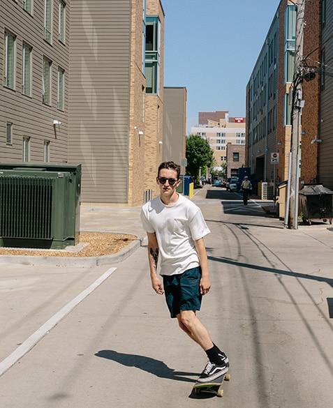 roy brady of blueprint coffee rides his skateboard