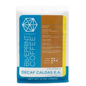 Decaf Caldas EA is a single origin decaffeinated coffee originating in Colombia and roasted by Blueprint Coffee.