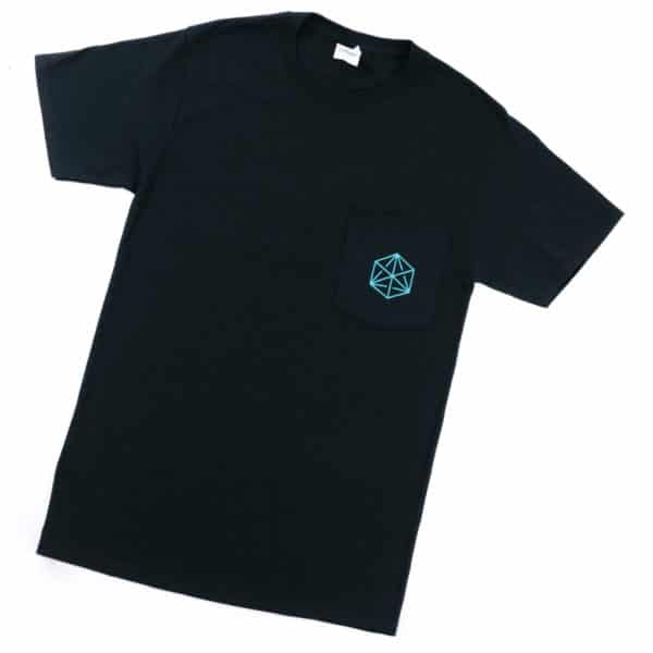 A black t-shirt with a pocket on the left breast bearing the blueprint cube logo.