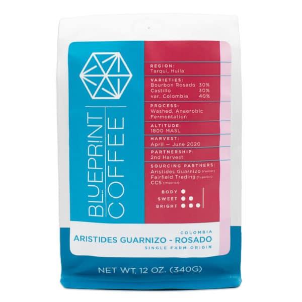 A 12-ounce bag of Aristides Guarnizo –Rosado, Colombia whole bean coffee roasted by Blueprint Coffee.