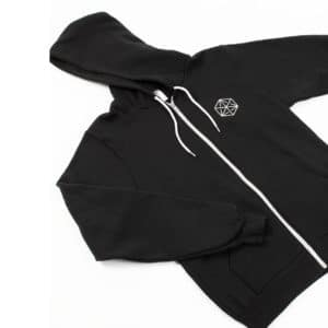 Our hooded sweatshirt features the Blueprint Cube on the front breast and an illustration of our Delmar coffee bar on the back.