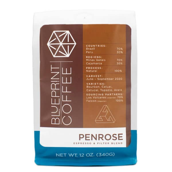 A twelve ounce bag of Penrose coffee beans roasted by Blueprint Coffee.