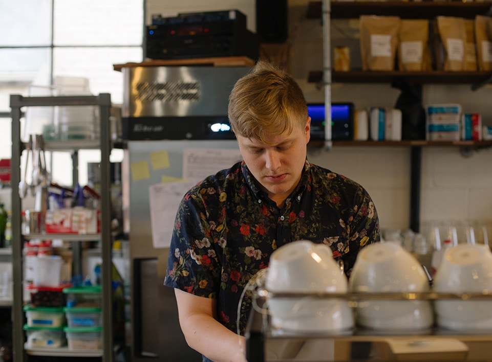 Next, alex steams milk on the La Marzocco espresso machine.