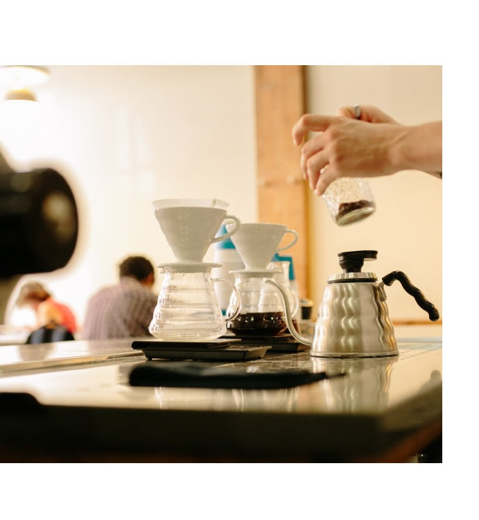 The items you'll need to prepare a coffee following our v60 brewing guide.