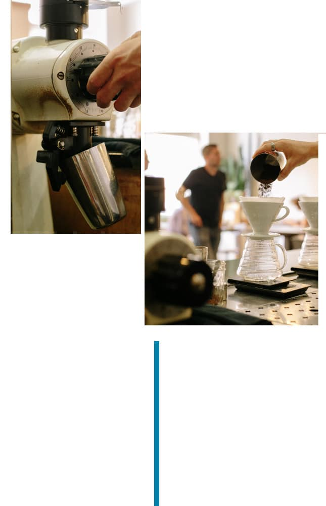 Step 2 of the v60 brewing guide involves emptying the receptacle of rinse water. Then, set brewer, filter, and receptacle on brew scale and tare. Add coffee to V60 and double-check weight. Level coffee bed and tare scale.