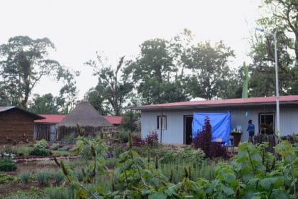 The Kawo Kamina farm with a garden in the foreground and in the background are a hut and two buildings.